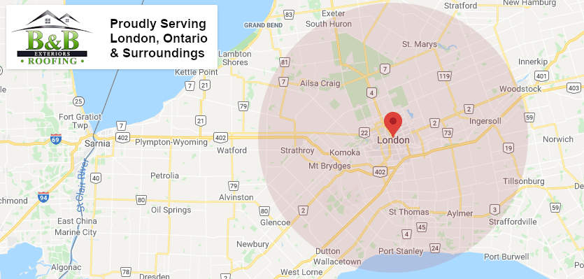 b&b roofing and exteriors services london ontario, and areas like st. thomas, aylmer, port stanley